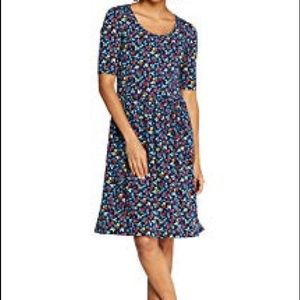 Elbow Sleeve Knee Length Fit and Flare Dress